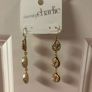 Gold sparkly dangling earrings
